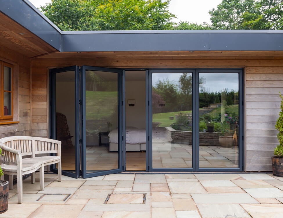Large anthracite grey aluminium bifold door
