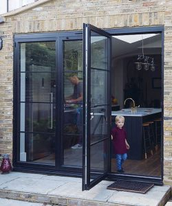 Child with a bifold door