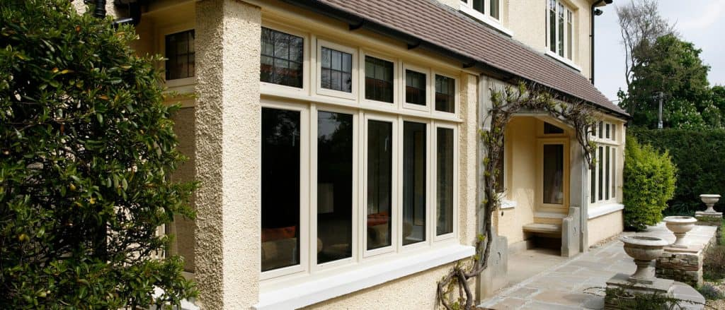Cream aluminium bay windows