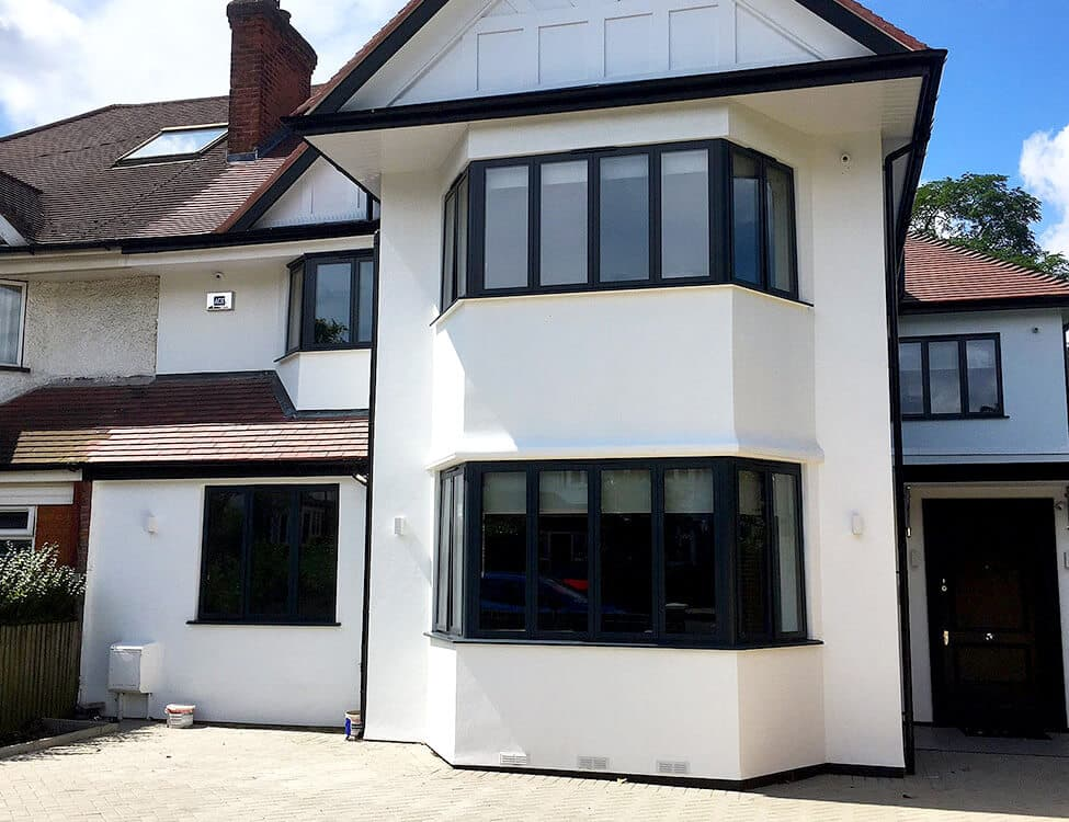 Black aluminium bay windows